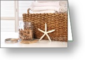 Warm Greeting Cards - Closeup of laundry basket with fine linens  Greeting Card by Sandra Cunningham