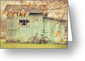Shed Photo Greeting Cards - Closeup of leaves with old barn in background Greeting Card by Sandra Cunningham