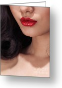 Chin Up Greeting Cards - Closeup of woman red lips Greeting Card by Oleksiy Maksymenko