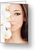 Brunette Greeting Cards - Closeup on beautiful face with flowers Greeting Card by Anna Omelchenko