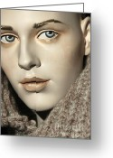 Survivor Greeting Cards - Closeup on Mannequins Face Greeting Card by Sophie Vigneault
