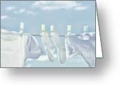 Clothesline Greeting Cards - Clothes hanging on clothesline Greeting Card by Sandra Cunningham