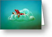 Red Dress Painting Greeting Cards - Cloud 9 Greeting Card by Cindy Thornton