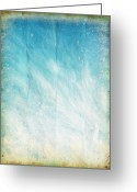 Burnt Greeting Cards - Cloud And Blue Sky On Old Grunge Paper Greeting Card by Setsiri Silapasuwanchai