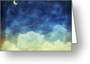Chalk Pastels Greeting Cards - Cloud And Sky At Night Greeting Card by Setsiri Silapasuwanchai