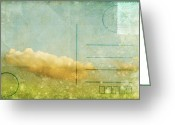 Backside Greeting Cards - Cloud And Sky On Postcard Greeting Card by Setsiri Silapasuwanchai