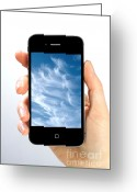 Hand In Pocket Greeting Cards - Cloud Computing Greeting Card by Photo Researchers
