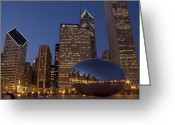 Nightshot Greeting Cards - Cloud Gate at Night Greeting Card by Timothy Johnson