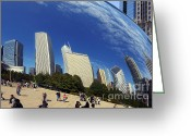 Curves Greeting Cards - Cloud Gate Millenium Park Chicago Greeting Card by Christine Till
