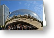 Curves Greeting Cards - Cloud Gate - The Bean - Millennium Park Chicago Greeting Card by Christine Till