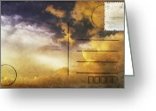 Backside Greeting Cards - Cloud In Sunset On Postcard Greeting Card by Setsiri Silapasuwanchai