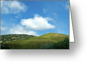 Clouds Framed Prints Greeting Cards - Cloud over Hills in Spring Greeting Card by Kathy Yates