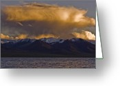 Lakescape Greeting Cards - Cloud over Namtso Greeting Card by Hitendra Sinkar