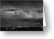Lightning Bolt Pictures Greeting Cards - Cloud to Cloud Lightning Boulder County Colorado BW Greeting Card by James Bo Insogna