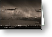 Lightning Bolt Pictures Greeting Cards - Cloud to Cloud Lightning Boulder County Colorado BW Sepia Greeting Card by James Bo Insogna