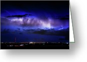 "\""lightning Strike\\\"" Greeting Cards - Cloud to Cloud Lightning Boulder County Colorado Greeting Card by James Bo Insogna"