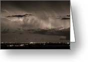 Lightning Bolt Pictures Greeting Cards - Cloud to Cloud Lightning Boulder County Colorado Sepia Color Mix Greeting Card by James Bo Insogna