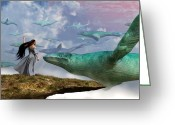 Fantasy Creatures Greeting Cards - Cloud Whales Greeting Card by Daniel Eskridge