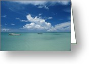 Tourists And Tourism Greeting Cards - Clouds And Boats, Aruba Greeting Card by Skip Brown