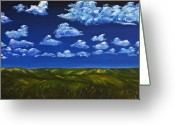 Gregory Allen Page Greeting Cards - Clouds and Grass Field Greeting Card by Gregory Allen Page