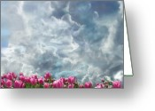 Heaven Digital Art Greeting Cards - Clouds And Tulips Greeting Card by Jeff Burgess