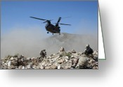 Humanitarian Aid Greeting Cards - Clouds Of Dust Kicked Up By The Rotor Greeting Card by Stocktrek Images