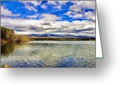 Reflected Tree Greeting Cards - Clouds over Distant Mountains Greeting Card by Jeff Kolker