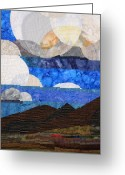 Desert Tapestries - Textiles Greeting Cards - Clouds over the Desert Greeting Card by Linda Beach