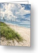 Melbourne Beach Greeting Cards - Clouds Over The Ocean Greeting Card by Cheryl Davis