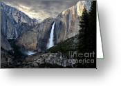 Rainbows Greeting Cards - Clouds Over Yosemite Fall Greeting Card by Wingsdomain Art and Photography