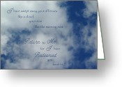 Robyn Stacey Photo Greeting Cards - Clouds Return to Me Isaiah 44 Greeting Card by Robyn Stacey
