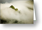 French Polynesia Greeting Cards - Clouds Surround The Peaks Of Moorea Greeting Card by Tim Laman