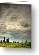 City Skylines Greeting Cards - Cloudy Chicago  Greeting Card by Emily Stauring