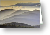Mountains Photographs Greeting Cards - Cloudy Layers on the Blue Ridge Parkway - NC Sunrise Scene Greeting Card by Rob Travis