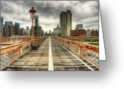 Street Light Greeting Cards - Cloudy New York From Brooklyn Bridge Greeting Card by Ixefra