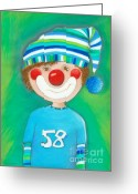 Childsroom Greeting Cards - Clown Boy Greeting Card by Sonja Mengkowski