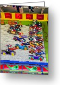 Clown Greeting Cards - Clown car racing game Greeting Card by Garry Gay