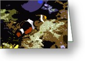 Sea Life Digital Art Greeting Cards - Clown Fish Greeting Card by David Lee Thompson