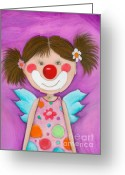 Childsroom Greeting Cards - Clown Girl Angel Greeting Card by Sonja Mengkowski