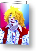 Terry Digital Art Greeting Cards - Clown Greeting Card by Terry Anderson