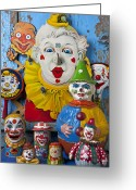 Figurine Greeting Cards - Clown toys Greeting Card by Garry Gay
