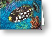 Ocean Tapestries - Textiles Greeting Cards - Clown Triggerfish Greeting Card by Sue Duda