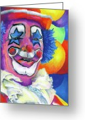 Red Pastels Greeting Cards - Clown with Balloons Greeting Card by Stephen Anderson