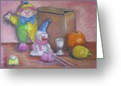 Toys Pastels Greeting Cards - Clown with Cardboard Box Greeting Card by Geraldine Leahy
