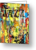 Guitar Mixed Media Greeting Cards - Club de Jazz Greeting Card by Sean Hagan