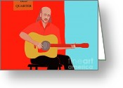 Happy Texas Artist Greeting Cards - Club Musician Greeting Card by Fred Jinkins