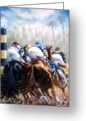 Jockeys Greeting Cards - Clubhouse Turn at Gulfstream Greeting Card by Thomas Allen Pauly