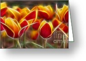 Flower Curves Greeting Cards - Cluisiana Tulips Fractal Greeting Card by Peter Piatt