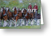 Fair Greeting Cards - Clydesdale Hitch Greeting Card by Anda Kett