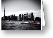 Blackandwhite Greeting Cards - Cn Tower Series: A Touch Of Color Greeting Card by Natasha Marco